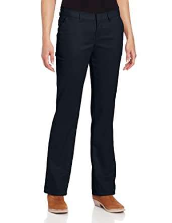 Dickies Women's Wrinkle Resistant Flat Front Twill Pant with Stain Release Finish, Dark Navy, 0 Regular