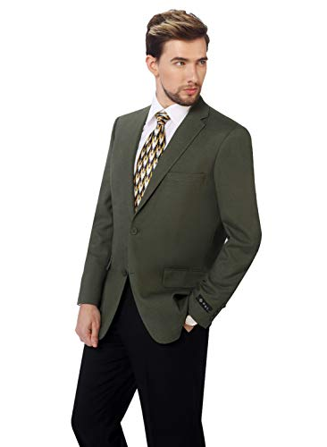 Coat 38 Short - P&L Men's Classic Fit Two-Button Blazer Suit Separate Jacket Olive