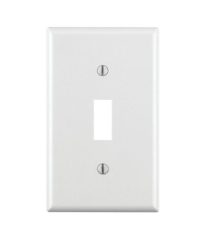 Leviton 88001 1-Gang Toggle Device Switch Wallplate, Standard Size, Thermoset, Device Mount, White