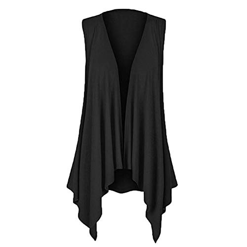 TANLANG Women's Sleeveless Irregular Cardigan T-Shirt Open Front Boyfriend Chunky Jersey Lightweight Draped Layering Vest ()