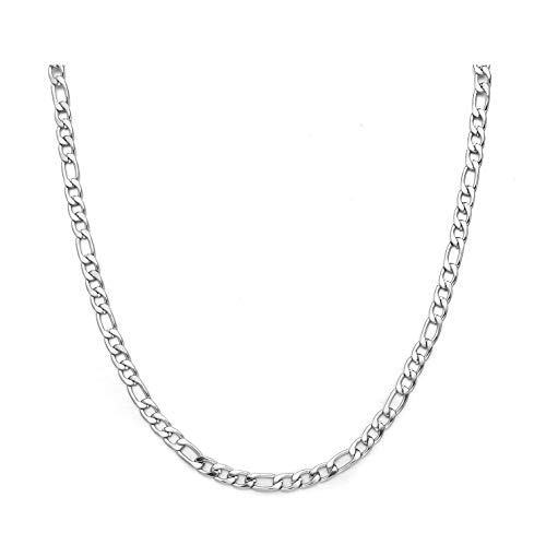 - 24 Inches Figaro Chain Necklace 5MM Stainless Steel Figaro Link Chain for Men Women