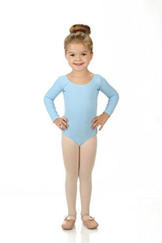 [Elowel Girls' Team Basics Long Sleeve Leotard Light Blue (size 2-4)] (Dance Team Costume Tops)