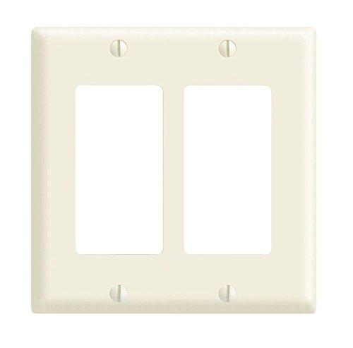Leviton 80409-A 2-Gang Decora/GFCI Device Decora Wallplate, Standard Size, Thermoset, Device Mount, Almond
