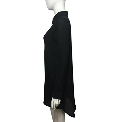 FAMILIZO Mujeres Camisa De Manga Larga Vuelta Collar Long Shirt Tops Blusa Larga Negro