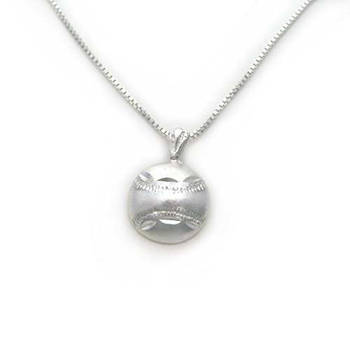 Sterling Silver Softball - Sterling Silver Baseball Softball with Etched Design Charm Necklace