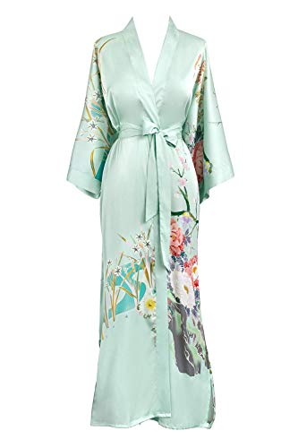China Kimono - Old Shanghai Womens Kimono Robe Long - Watercolor Floral, Spring Floral- Mist,One Size.