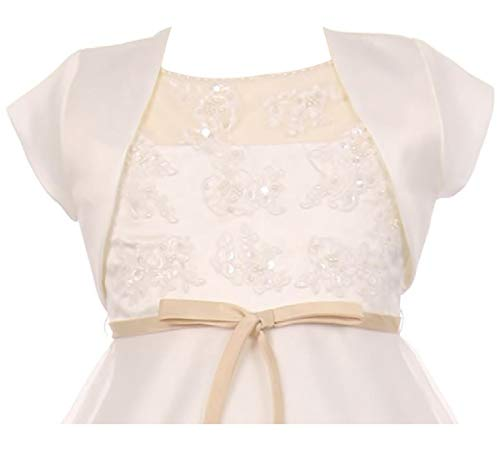 Big Girls' Satin Short Flower Girl Bolero Jacket Cover Up Shrug Cardigan USA Ivory 8 (K35D5)
