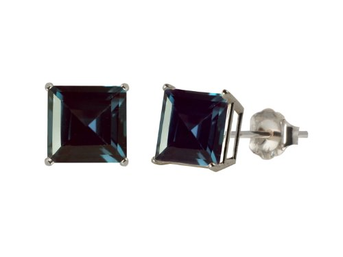 10k White Gold 8mm Square Lab Created Alexandrite 4-Prong Stud Earrings