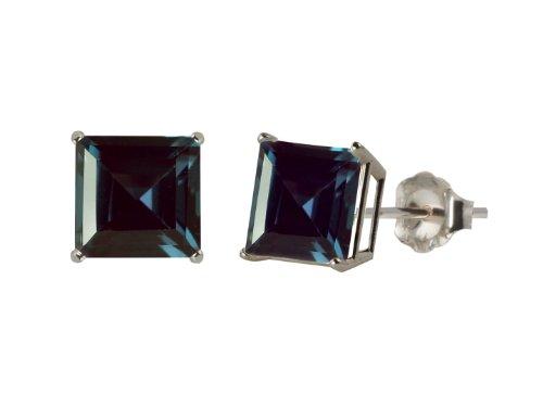 10k White Gold 8mm Square Lab Created Alexandrite 4-Prong Stud Earrings 10k Alexandrite Earrings