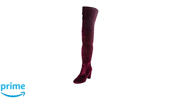 c2eaae54a Amazon.com | LFL by Lust for Life Womens Lure Velvet Almond Toe Over Knee  Fashion Boots, Burgundy, Size 7 B(M) | Over-the-Knee