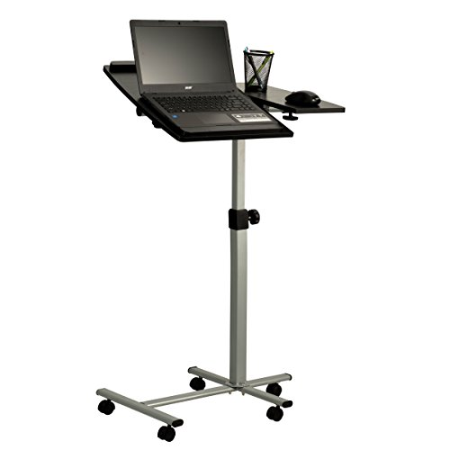 Fineboard Height Adjustable Laptop Stand with Side Desk, Black