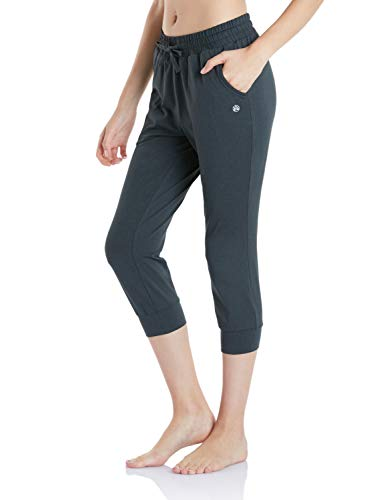TSLA Women's Yoga Loungewear Capri Tapered Comfy Soft Peachskin Running Casual Yoga Active with Pockets, Capri Tapered Fit(fbc50) - Heather Charcoal, Small