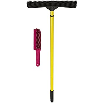 Evriholder 250I-180I-AMZ, FURemover Pet Hair Removal Broom and Lint Brush Combo with Squeegee and Telescoping Handle That Extends from 3-5'