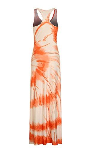 Orange Femme Imprim Voyage YiyiLai Rond Sans Manche Plage Mode Col Et Robe Casual Longue Owq6wtaCx