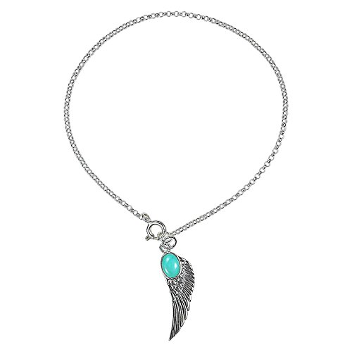 Simulated Turquoise Angel Wing Dangle Charm .925 Sterling Silver Link Bracelet ()