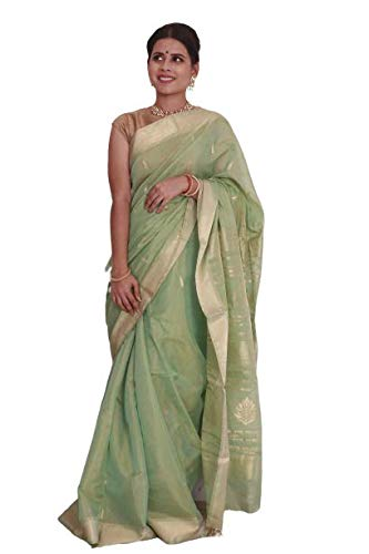 Rang Resha Authentic Maheshwari Hand Crafted Heard Wining Pastel Green Soft Tissue Silk Saree with laboriously Woven Booties and Pallu