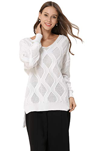 (Women Tunic Sweaters Cable Knit Sweater V Neck Cashmere Casual Loose Jumper Jacket for Jeans and Pants. (M,White))