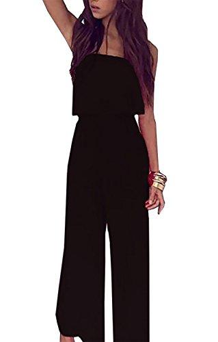 BTFBM 2018 Women Strapless Off Shoulder Ruffled High Waist Backless Wide Leg Long Pants Jumpsuit Romper