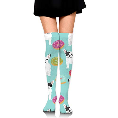 Guoxichangtuiwa French Bulldog Donuts Women's Girl's Breathable Cotton Comfortable Fashion Over The Knee High Leg Athletic Thigh Highs Socks,Cosplay Socks]()