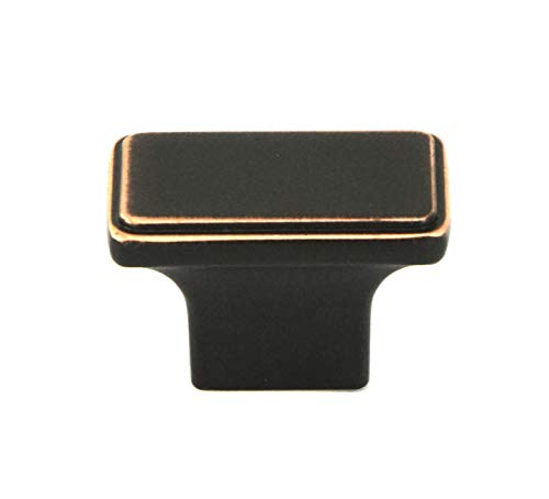 Kingsman NEPOLI Series 1-1/2 in. x 7/8 in. Solid Rectangular Cabinet Knob Handle (10, Oil Rubbed Bronze) ()