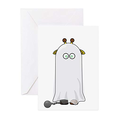 CafePress Giraffe Dressed Up As Ghost Greeting Cards Greeting Card, Note Card, Birthday Card, Blank Inside Matte -