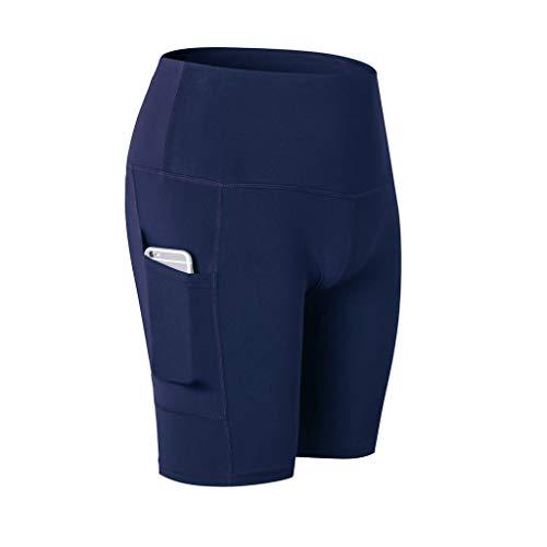 (TIFENNY Women's High Waist Yoga Shorts Quick Drying Abdomen Control Training Running Pants Sweatpants with Pockets Navy)