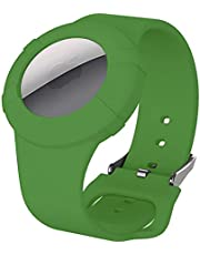 Kids Bracelet AirTag Case, AirTag Wristband Holder,Silicone Airtag Bracelet for Kids Toddler Baby Children Elders, Waterproof Wristband Compatible with Apple AirTag 2021 (Dark Green)