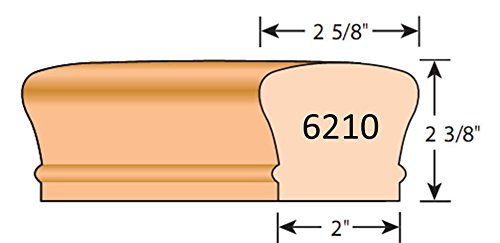 Stair parts EURO BEECH 6010, 6210 and 6310 (9100) wood handrail 8' long (6210)