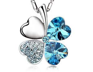 NEW Womens Heart SKY Blue Crystal Rhinestone Silver Chain Pendant Necklace -