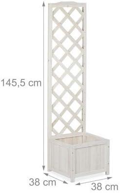 Relaxdays Pérgola de jardín, Enrejado de Madera, Decoración de Exterior, Macetero, 25 L, 145,5 cm, Blanco: Amazon.es: Hogar