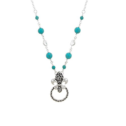 Faux Jeweled Semi Precious Turquoise Stone Beaded Eyeglass Holder Necklace Set with Earring , loop for Sun Glasses and Reading - Sunglasses Designer Symbols