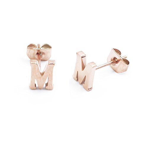 14K Rose Gold Plated Titanium Steel Initial Letter M Earring Studs