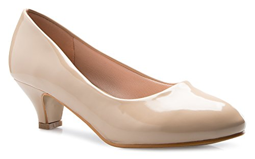 OLIVIA K Womens Classic Closed Toe Kitten Heel Pumps | Dress, Work, Party Low Heeled,Beige Patent,7.5 M US ()