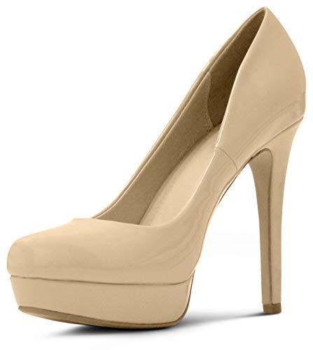 MARCOREPUBLIC Johannesburg Almond Toe High Heels Platform Shoes Stiletto Dress Pumps - (Dark Beige Patent) - 6