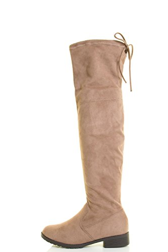 Forever Link Damen über Kniehohe Kordelzug Schnürschuh Chunky Thick Heel Stiefel Taupe
