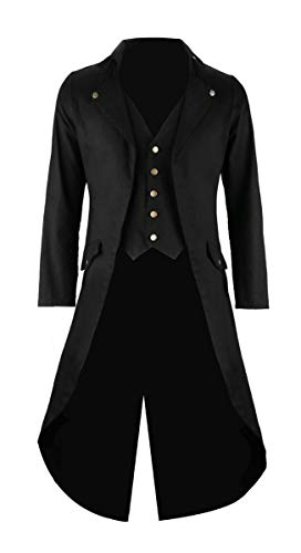 Mens Black Vintage Tailcoat Jacket Fancy Cool Cosplay Costume Robe -