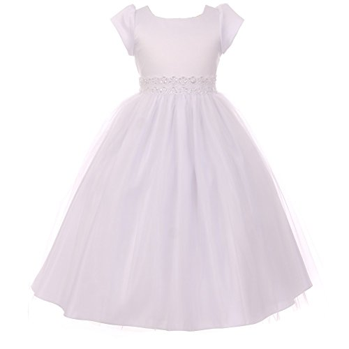 Shanil Big Girls White Glitter Bejeweled Waist Junior Bridesmaid Elegant Dress 14 from Shanil Inc.