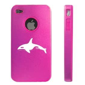 Apple iPhone 4 4S 4 Hot Pink D3435 Aluminum & Silicone Case Cover Killer Whale