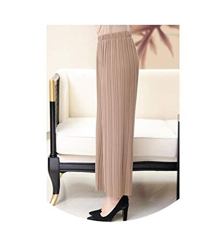 Women Wide Leg Pants Elastic Waist Loose Female Pleated Pants Casual Pants Lad,Khaki, (Print Yamamoto)