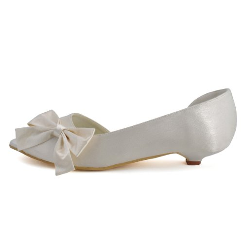 ElegantPark WM-019 Women Satin Prom Bows Peep Toe Low Heels Pumps Wedding Evening Court Shoes Ivory UK 5 zfk0O4K2Pc