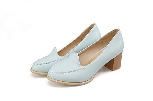 Azzurro Tacco Donna Chiusa Luccichio Ballet GMMDB008384 Puro AgooLar Medio Flats Punta CBtvqwnx