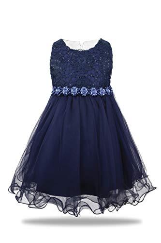 AODAYA Baby Girls Dress Sleeveless Newborn Toddler Flower Girl Dresses for Kids Children Birthday Wedding Party Dark Blue (Blue Toddler Flower Girl Dresses)