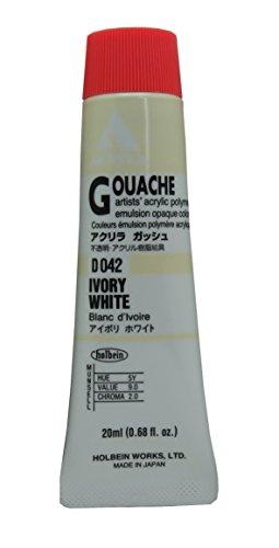 Holbein Acryla Gouache Artists Acrylic Polymer Emulsion, 20ml Ivory White (D042) - Acrylic Emulsion