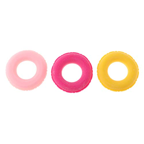 Flameer 3 Pieces Resin Swim Rings Swimming Pool Buoys 1/12 Dollhouse Kids Pretend Play Toys (Ornaments Pool Swimming)