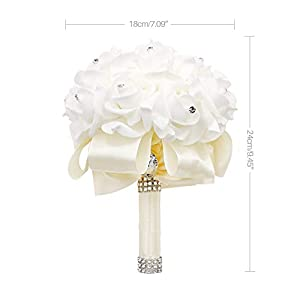 123 TEST Artificial Flowers Bride Holding Bouquet Handmade Silk Roses Flowers for Wedding Engagement Valentine's Day Church Party and Home Hotel Office Garden Craft Art Decoration(Milk White) 2