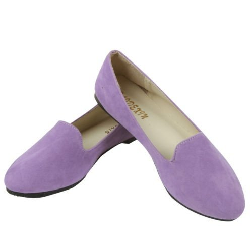 JOY DRAGON Women Ballet Light Faux Suede Low Heels Flats Candy Color Spring Summer Loafers Shoes Size 5-8 B07BJ2LKTB 7 B(M) US|Light Purple