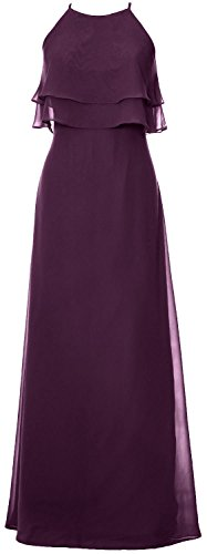 MACloth Elegant Long Bridesmaid Dress Tiered Chiffon Wedding Party Formal Gown Plum