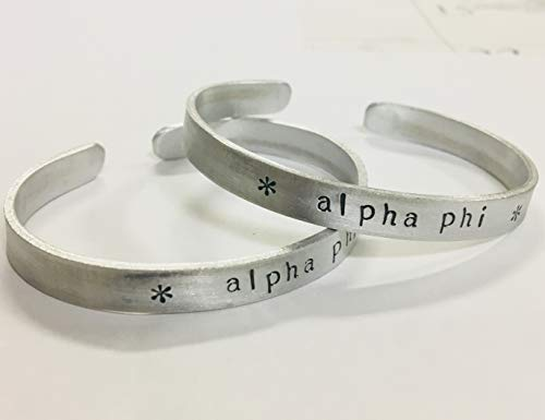 Alpha Phi Cuff Bracelet - handstamped in a whimsical font on a non tarnish aluminum cuff, officially licensed