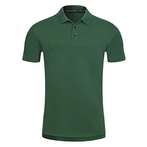 Inforin Men Casual Summer Short Sleeve Solid Turn-Down Collar T-Shirt Tops Blouse Green