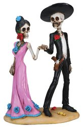 Statue Folk Art Figurine (Day of The Dead Skeleton Couple Holding Hands Figurine)